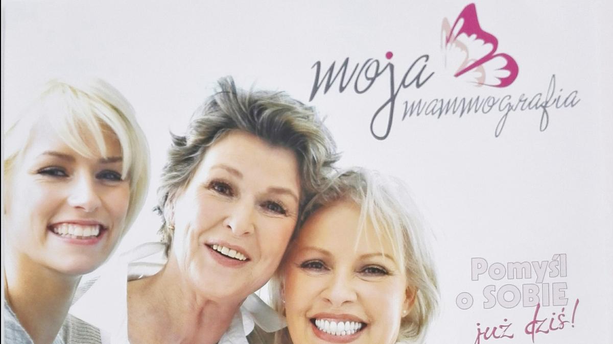 Na zdjęciu plakat zapowiadający badanie mammograficzne.