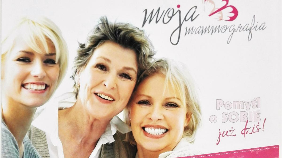 Na zdjęciu grafika zapowiadająca bezpłatną mammografię