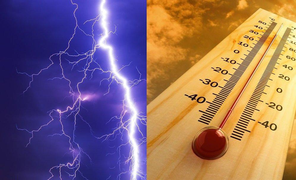 na zdjęciu grafika przedstawiająca piorun oraz termometr wskazujący wysoką temperaturę.