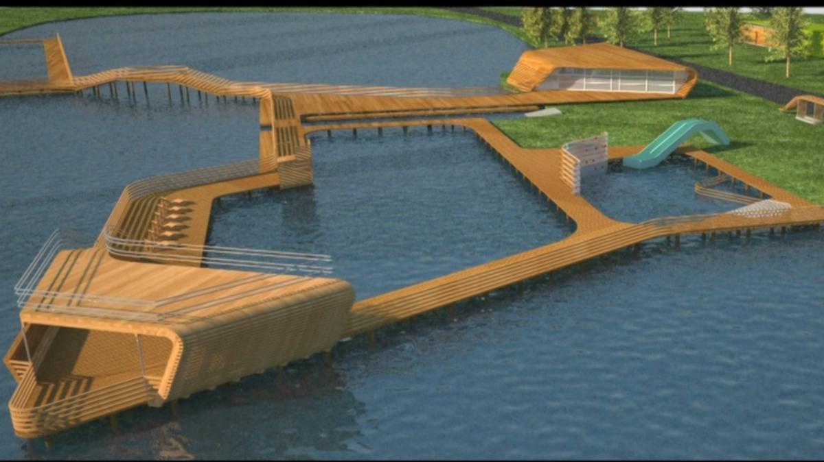 Koncepcja nowej plaży miejskiej nad j. Niskie Brodno