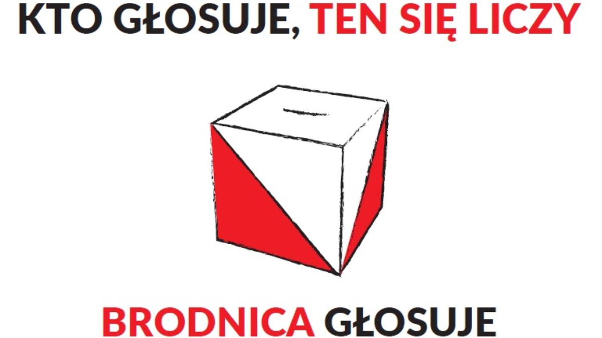 Zdjęcie przedstawia grafikę zachęcającą do głosowania. Na zdjęciu urna wyborcza, herb Brodnicy oraz napis: Kto głosuje ten się liczy. Brodnica głosuje.