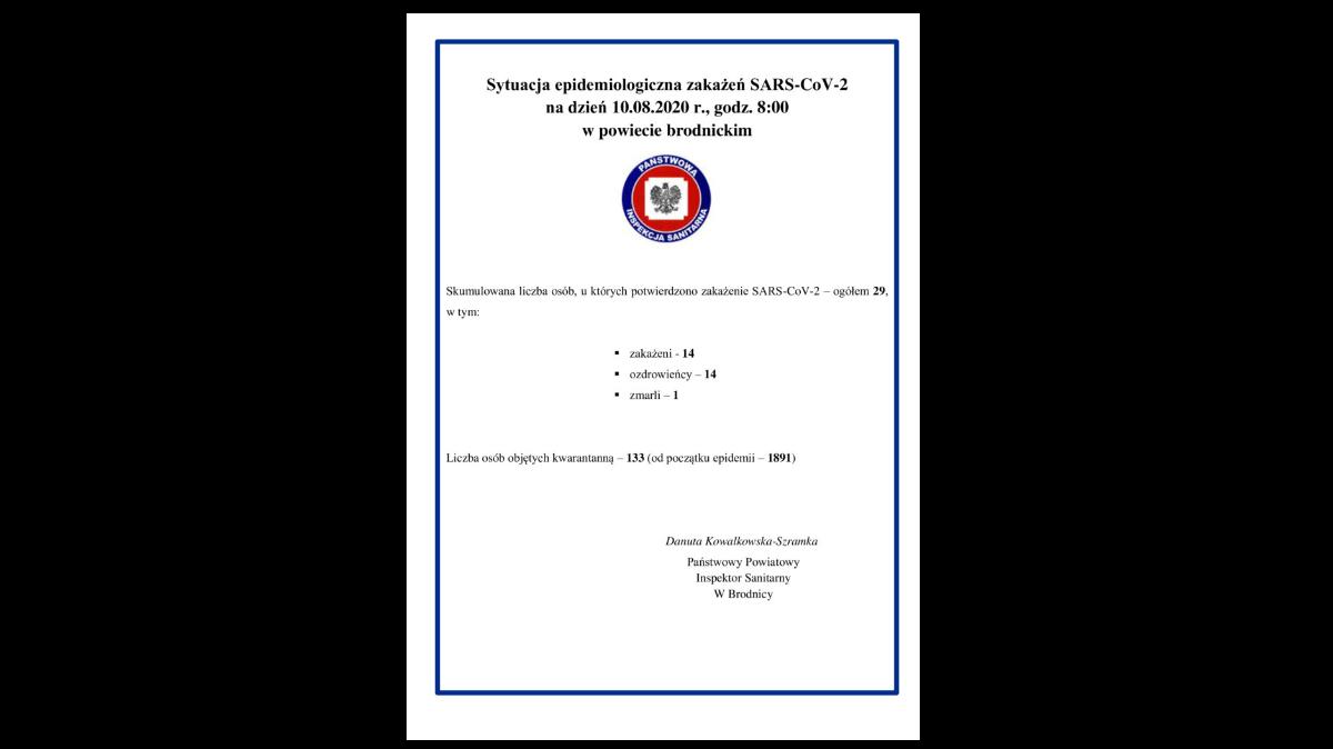 Sytuacja epidemiologiczna zakażeń SARS-CoV-2 na dzień 10.08.2020 r.