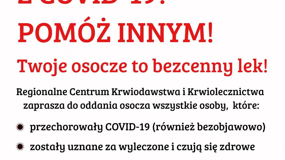 Wygrałeś walkę z Covid-19 pomóż innym