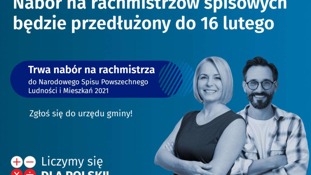 na zdjęciu: plakat informujący o przedłużeniu naboru