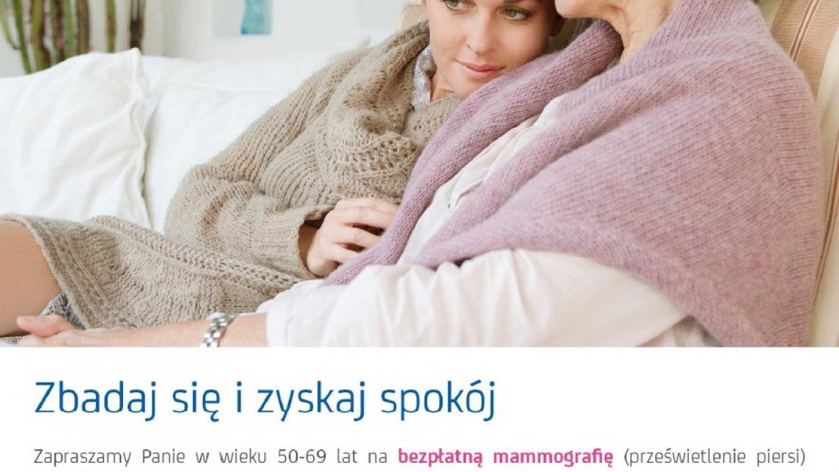 na zdjęciu: plakat badań mammograficznych