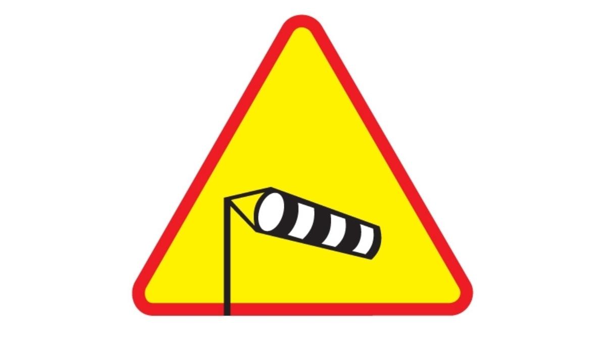 Znak drogowy: silny wiatr