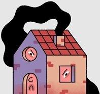 na zdjęciu domek z dymem